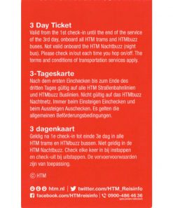HTM The Hague Travel Ticket 3-dagen Back side