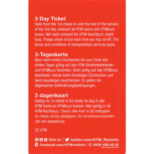 HTM The Hague Travel Ticket 3-dagen Back side